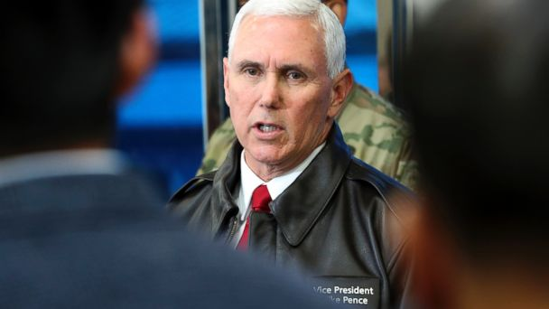 PHOTO: U.S. Vice President Mike Pence speaks to the media at the border village of Panmunjom which has separated the two Koreas since the Korean War, South Korea, April 17, 2017.