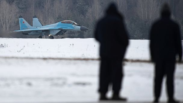 PHOTO: The MiG 35 aviation complex is seen here during its presentation held on the territory of Industrial Complex 1 of the MiG Russian Aircraft Corporation in Lukhovitsy, Moscow Region, Jan. 27, 2017.