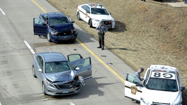 PHOTO: Pennsylvania State Police are on the scene after a high speed pursuit on I-99 North bound at the Shiloh Road interchange, near College Township, Penn., Feb. 24, 2017.