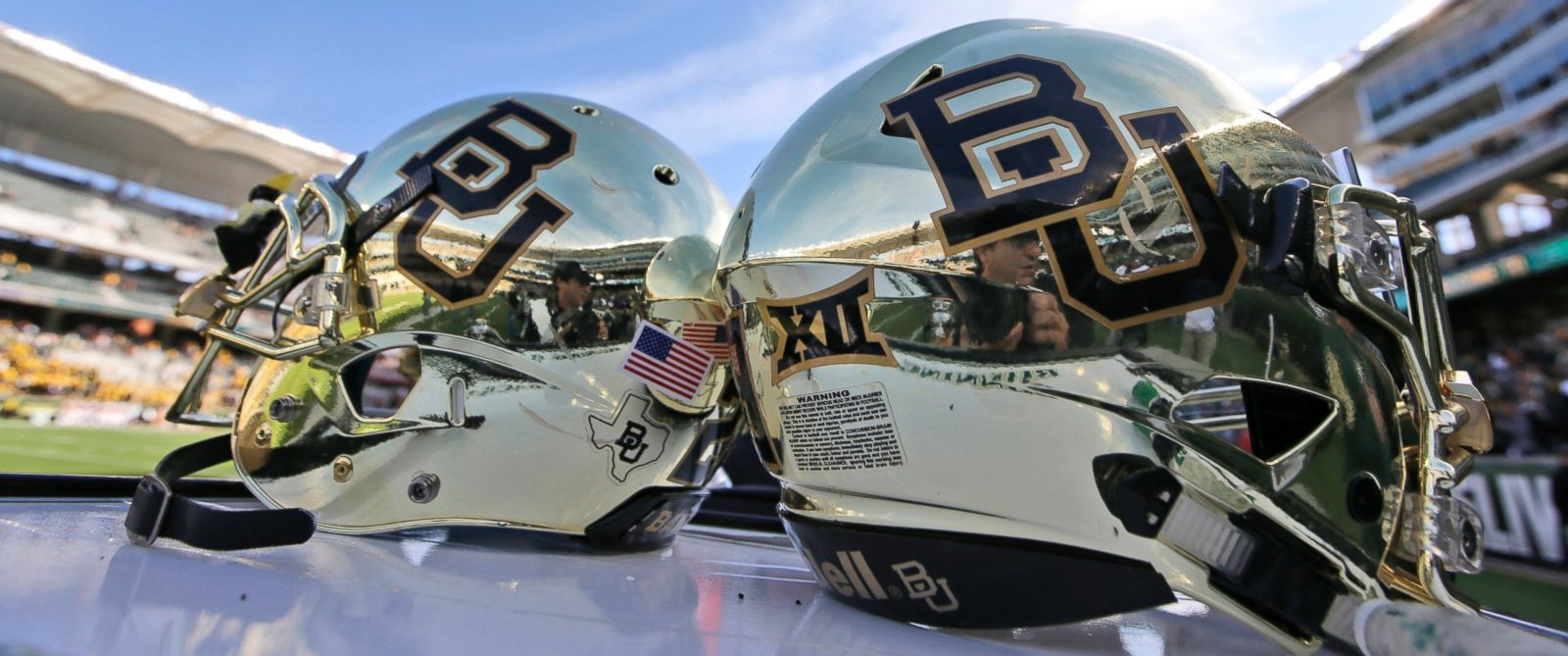 PHOTO: Baylor helmets on shown the field after an NCAA college football game in Waco, Texas.