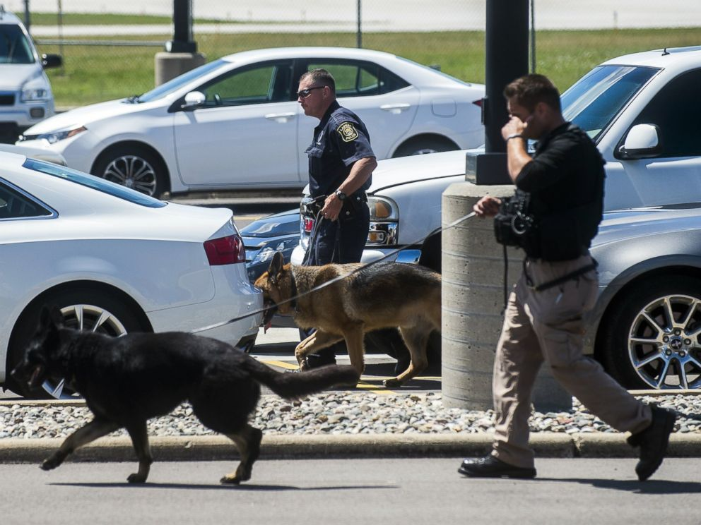 PHOTO: Police dogs search cars in a parking lot at Bishop International Airport, June 21, 2017, in Flint, Mich.
