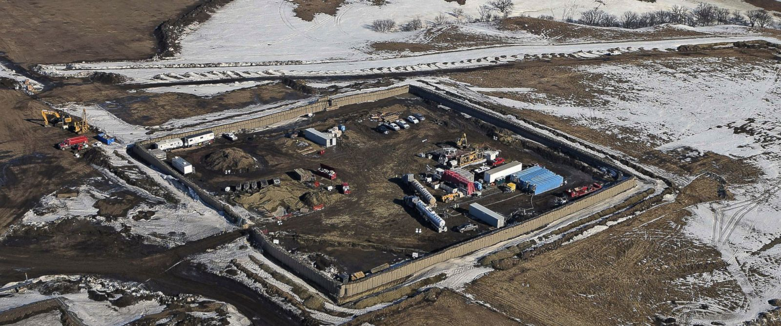 PHOTO: In this Feb. 13, 2017, aerial file photo shows the site where the final phase of the Dakota Access Pipeline will take place with boring equipment routing the pipeline to connect with the existing pipeline in Emmons County near Cannon Ball, N. D.