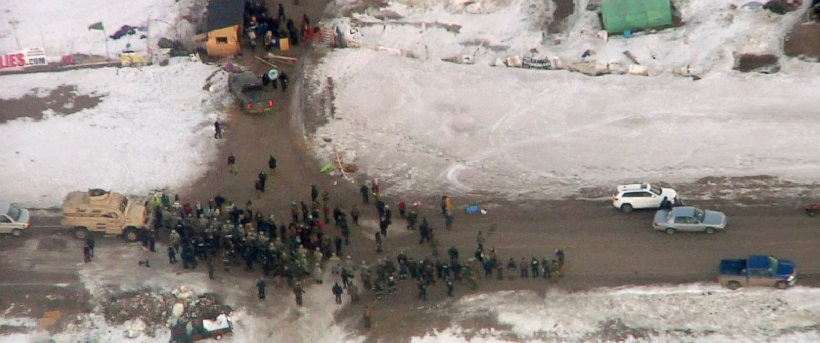 PHOTO: Law enforcement officers line up against protesters during the eviction of about 40 Dakota Access pipeline opponents from a camp on private property in southern North Dakota near Cannon Ball, North Dakota, Feb. 1, 2017.