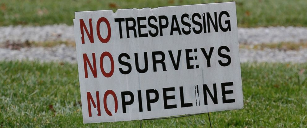 PHOTO: Signs are posted on Jon Strongs property where a planned natural gas pipeline is scheduled to be built soon, Dec. 5, 2016, in Guilford Township near Wadsworth, Ohio.