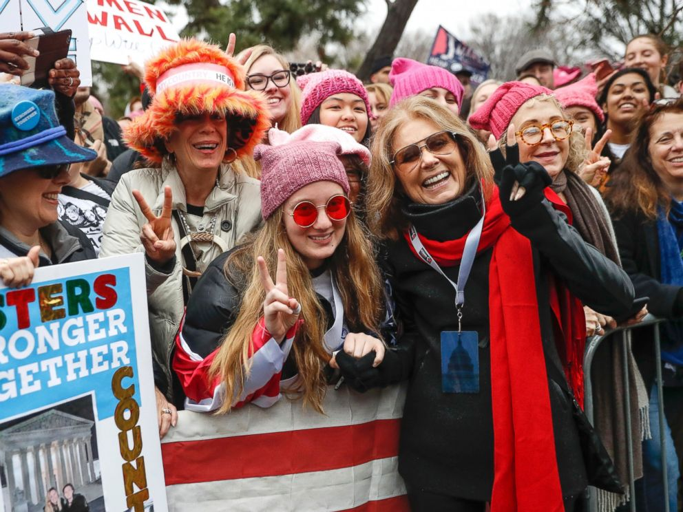 PHOTO: Gloria Steinem, center right, greets demonstrators at the barricades before speaking at the Womens March on Washington during the first full day of Donald Trumps presidency, Jan. 21, 2017 in Washington, D.C.