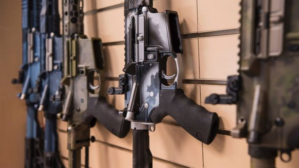 PHOTO: AR-15 style rifles made by Battle Rifle Co., a gunmaker in Webster, Texas, are on display in its retail shop, March 15, 2017.