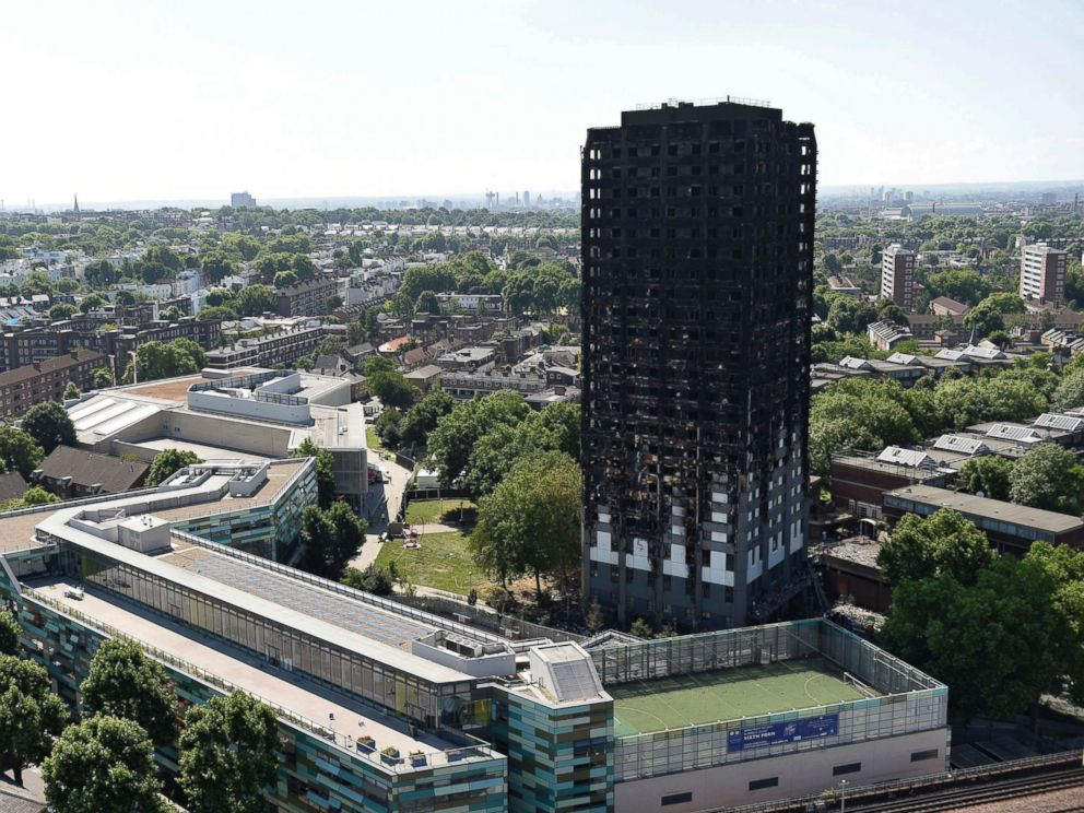 PHOTO: Grenfell Tower is pictured on June 17, 2017 in west London after a fire engulfed the 24-storey building on Wednesday morning.