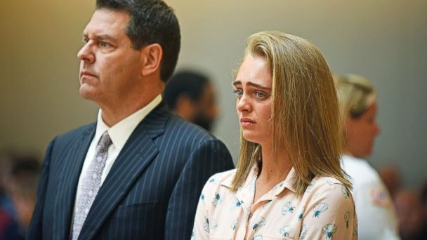 PHOTO: Michelle Carter and her attorney Joseph Cataldo stand to hear Judge Lawrence Moniz announce his verdict, June 16, 2017, in Bristol Juvenile Court, Taunton, Mass.