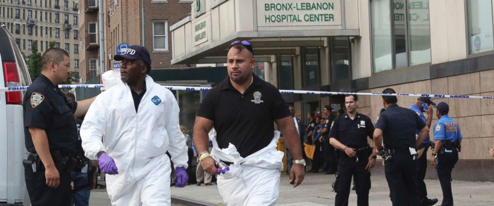 PHOTO: Police officers with the Forensics Unit leave Bronx Lebanon Hospital after a gunman opened fire and then took his own life there, June 30, 2017, in New York.