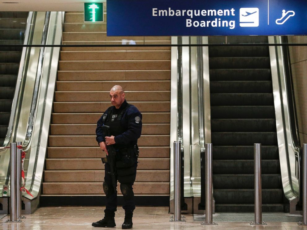PHOTO: A riot police officer patrols inside Orly airport, south of Paris, as flights are gradually resuming, March, 18, 2017.