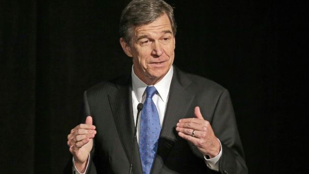 North Carolina Gov. Roy Cooper speaks during a forum in Charlotte, North Carolina.