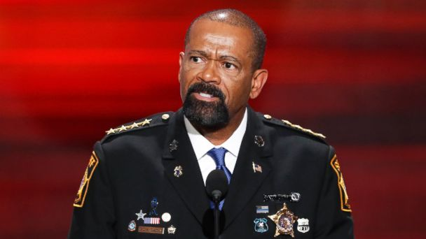 PHOTO: Milwaukee County, Wis. Sheriff David Clarke speaks at the Republican National Convention in Cleveland, July 18, 2016.