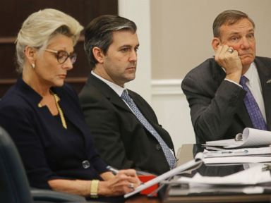 PHOTO: North Charleston police officer Michael Slager, center, sits in the courtroom during his murder trial at the Charleston County court in Charleston, South Carolina, Nov. 30, 2016.