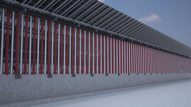 PHOTO: A rendering of the side of a border wall concept that faces the U.S. that incorporates solar panels into the design.