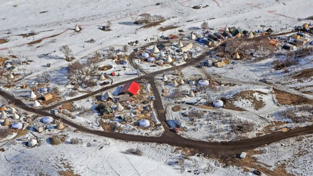 PHOTO: In this aerial photo the Sacred Stones Camp on the Standing Rock Indian Reservation and along the Cannonball River, where people have gathered to protest the Dakota Access oil pipeline, is seen in Cannon Ball, North Dakota, Feb. 13, 2017.