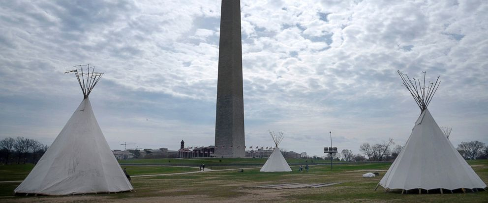 PHOTO: Native Americans set up a tipi camp on the grounds of the Washington Monument in front of the White House, March 7, 2017, in Washington.