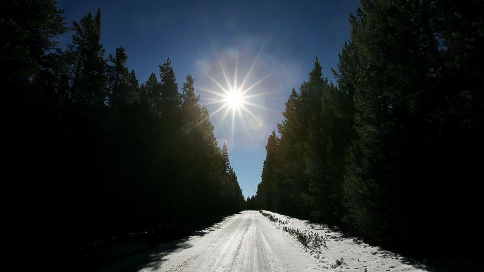 PHOTO: Sunlight illuminates a country road covered in snow near Fox Park in Medicine Bow National Forest in this Oct. 25, 2007 file photo