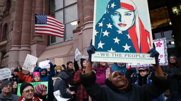PHOTO: Demonstrators chant against President Donald Trump's executive order temporarily banning immigrants from seven Muslim-majority countries from entering the U.S.