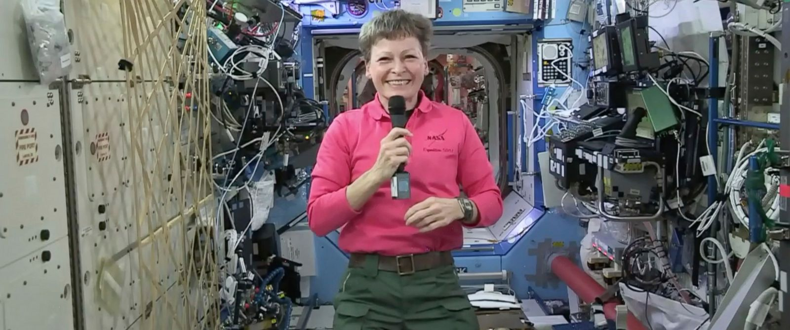 PHOTO: In this Thursday, April 13, 2017 image from video made available by NASA, astronaut Peggy Whitson speaks during an interview aboard the International Space Station.