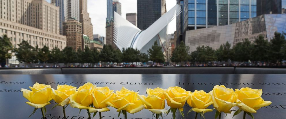 PHOTO: Yellow roses are placed over the name of Robert Clinton Kennedy at the World Trade Center Memorial, Sept. 9, 2016, in New York.