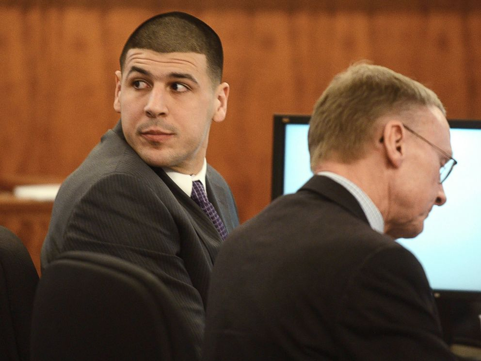 PHOTO: Aaron Hernandez, left, sits with his attorney Charles Rankin during his trial at Bristol Superior Court, Feb. 11, 2015, in Fall River, Mass.