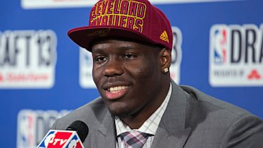 PHOTO: UNLVs Anthony Bennett, who was selected first by the Cleveland Cavaliers in the NBA basketball draft, speaks during a news conference, June 27, 2013, in New York.
