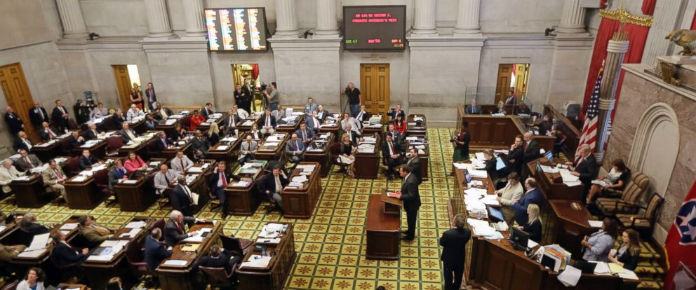 PHOTO:Members of the House of Representatives debate overriding Gov. Bill Haslams veto of a bill seeking to make the Bible the states official book, April 20, 2016, in Nashville, Tennessee. The House voted not to override the veto.