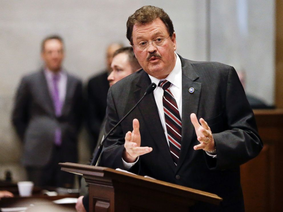 PHOTO: Rep. Jerry Sexton, R-Bean Station, speaks in favor of overriding Gov. Bill Haslams veto of Sextons bill seeking to make the Bible the states official book, April 20, 2016, in Nashville, Tennessee. The House voted not to override the veto.