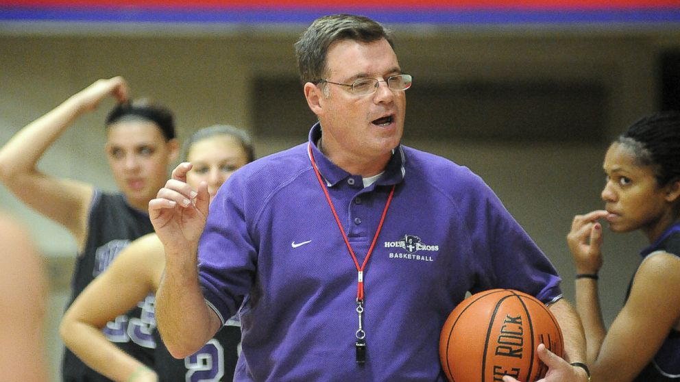 PHOTO: Holy Cross womens basketball coach Bill Gibbons outlines a play for his team during practice at the Hart Center in Worcester, Mass
