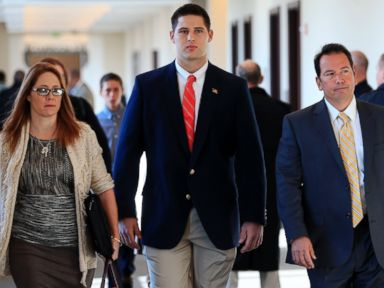 PHOTO: Former Vanderbilt University football player Brandon Vandenburg, center, arrives for jury selection in his trial, Nov. 3, 2014, in Nashville, Tenn.