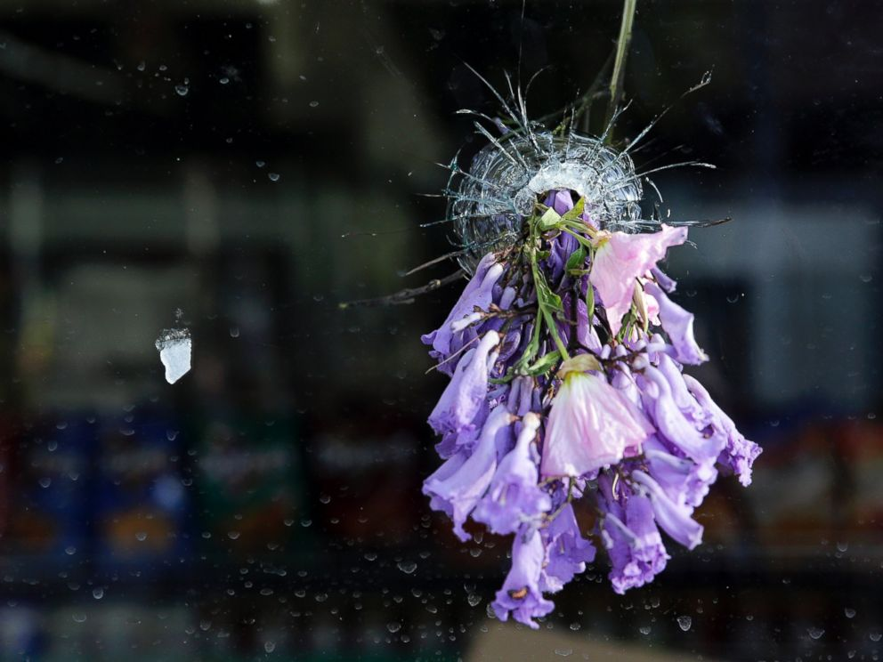 PHOTO: Flowers hang through a bullet hole on a window of IV Deli Mart following a mass shooting in Isla Vista, Calif., May 24, 2014.
