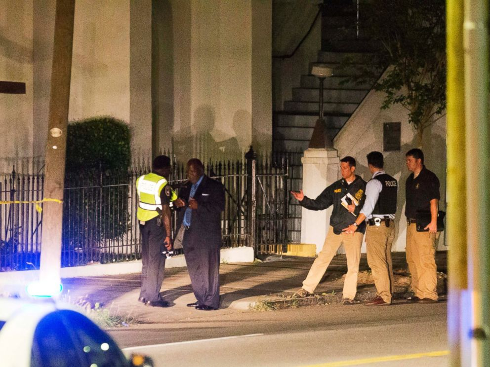 PHOTO: Police stand outside the Emanuel AME Church following a shooting, June 17, 2015, in Charleston, South Carolina.