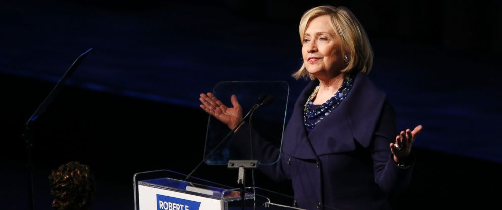 PHOTO: Former Secretary of State Hillary Rodham Clinton speaks after accepting the Robert F. Kennedy Ripple of Hope Award during a ceremony, Dec. 16, 2014 in New York.