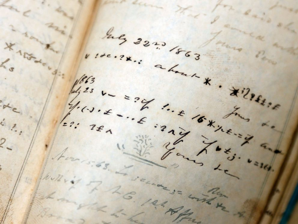 PHOTO: Confederate officer James M. Malbones diary shows coded entries at the New York State Military Museum, Oct. 9, 2014, in Saratoga Springs, N.Y.