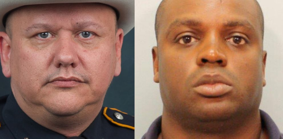 This undated photo provided by the Harris County Sheriffs Office shows Shannon Miles (right). Prosecutors in Texas are charging the 30-year-old man with capital murder in the killing of sheriffs deputy Darren Goforth (left).