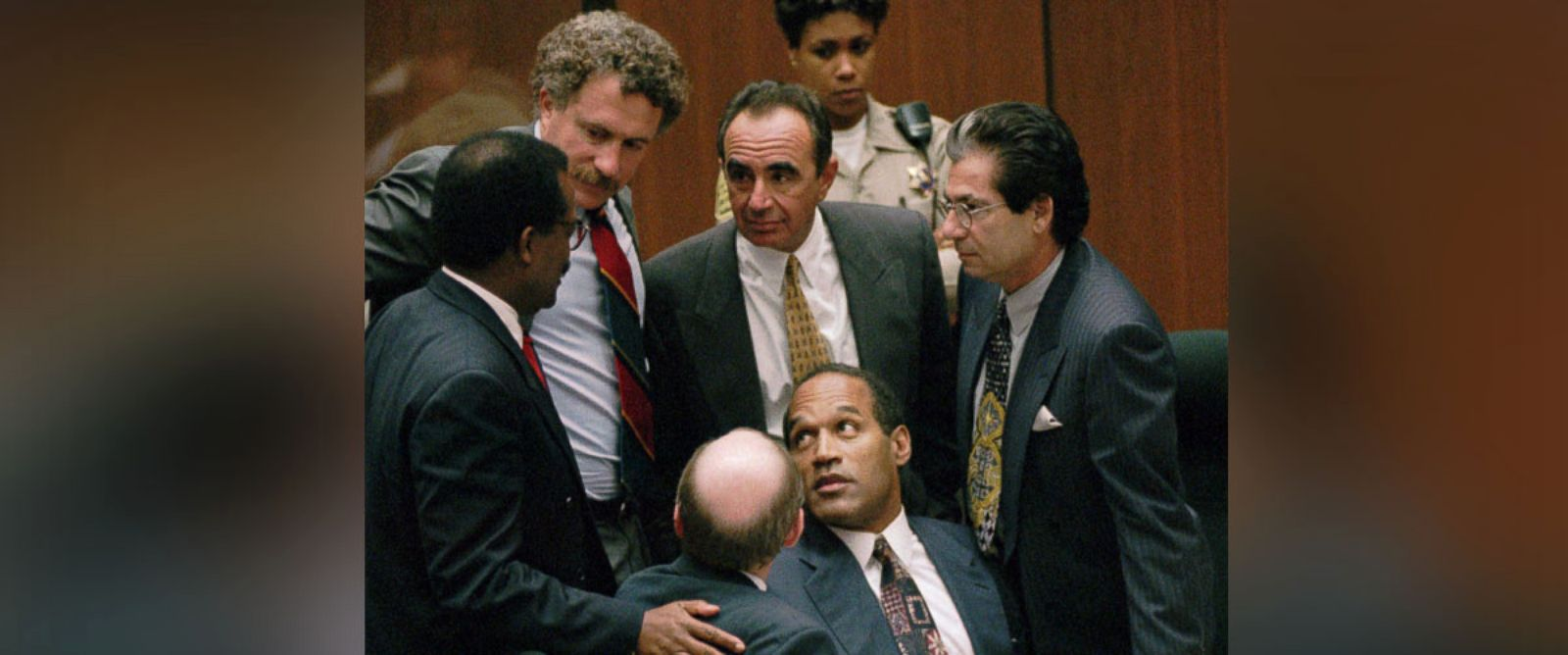 PHOTO: Double-murder defendant O.J. Simpson is surrounded by his Dream Team defense attorneys at the close of defense arguments on Sept. 28, 1995 in Los Angeles.