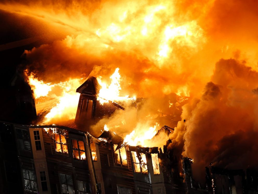 PHOTO: An apartment complex is engulfed by flames, Jan. 21, 2015, in Edgewater, N.J.