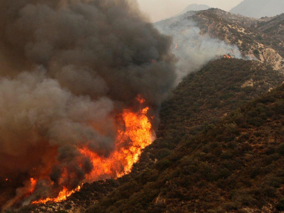 PHOTO: The Sand Fire burns near Wildlife Waystation on Little Tujunga Canyon Road on July 23, 2016.