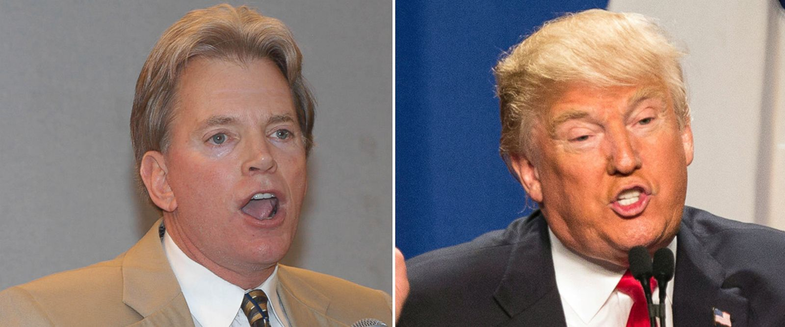 PHOTO: Former Ku Klux Klan leader David Duke speaks to supporters at a reception, May 29, 2004, in Kenner, Louisiana. Donald Trump speaks during a campaign event at the convention center in Fort Worth, Texas, Feb. 26, 2016.