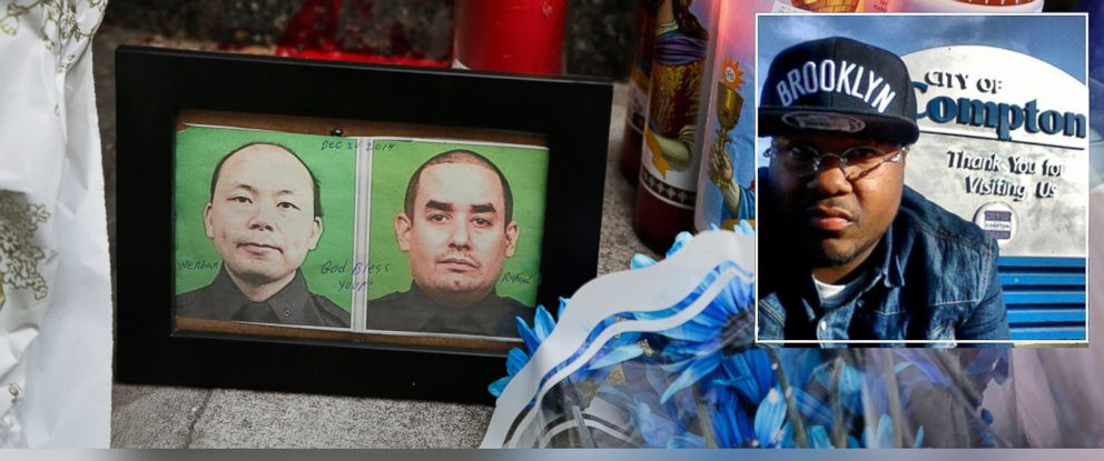 PHOTO: Photographs of slain New York Police officers Wenjian Liu, left, and Rafael Ramos are placed in a makeshift memorial honoring the men at the 84th Precinct in the Brooklyn borough of New York, Dec. 21, 2014. | Inset: Ismaaiyl Abdula Brinsley, 28