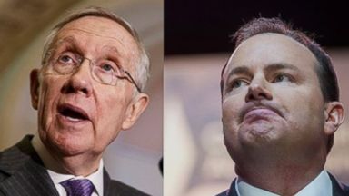 PHOTO: Senate Majority Leader Harry Reid of Nev. (left) faces reporters on Capitol Hill, Feb. 25, 2014. Sen. Mike Lee, R-Utah (right) pauses while speaking at the Conservative Political Action Committee annual conference on March 6, 2014.