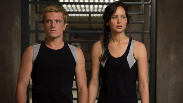 "PHOTO: This image released by Lionsgate shows Josh Hutcherson as Peeta Mellark, left, and Jennifer Lawrence as Katniss Everdeen in a scene from ""The Hunger Games: Catching Fire."""