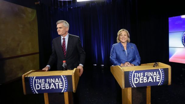 PHOTO: Sen. Mary Landrieu, D-La., and Rep. Bill Cassidy, R-La., wait for the start of their final debate for the Senate election runoff in Baton Rouge, La., Dec. 1, 2014.
