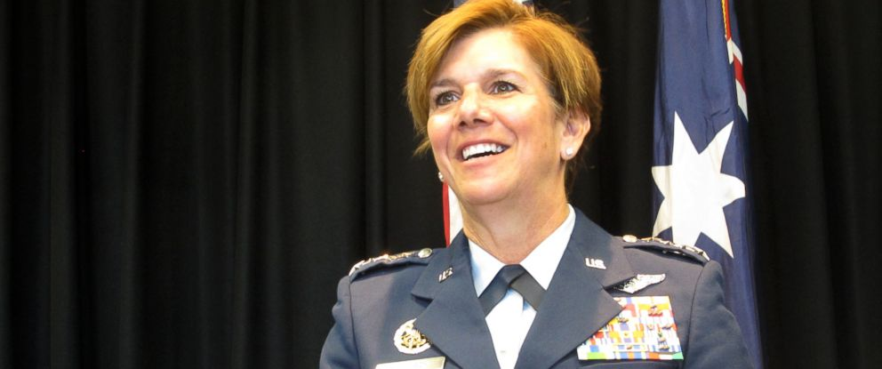 PHOTO:Gen. Lori Robinson, the commander of the Pacific Air Forces, talks to reporters, March 8, 2016, at the U.S. Embassy in Canberra, Australia.