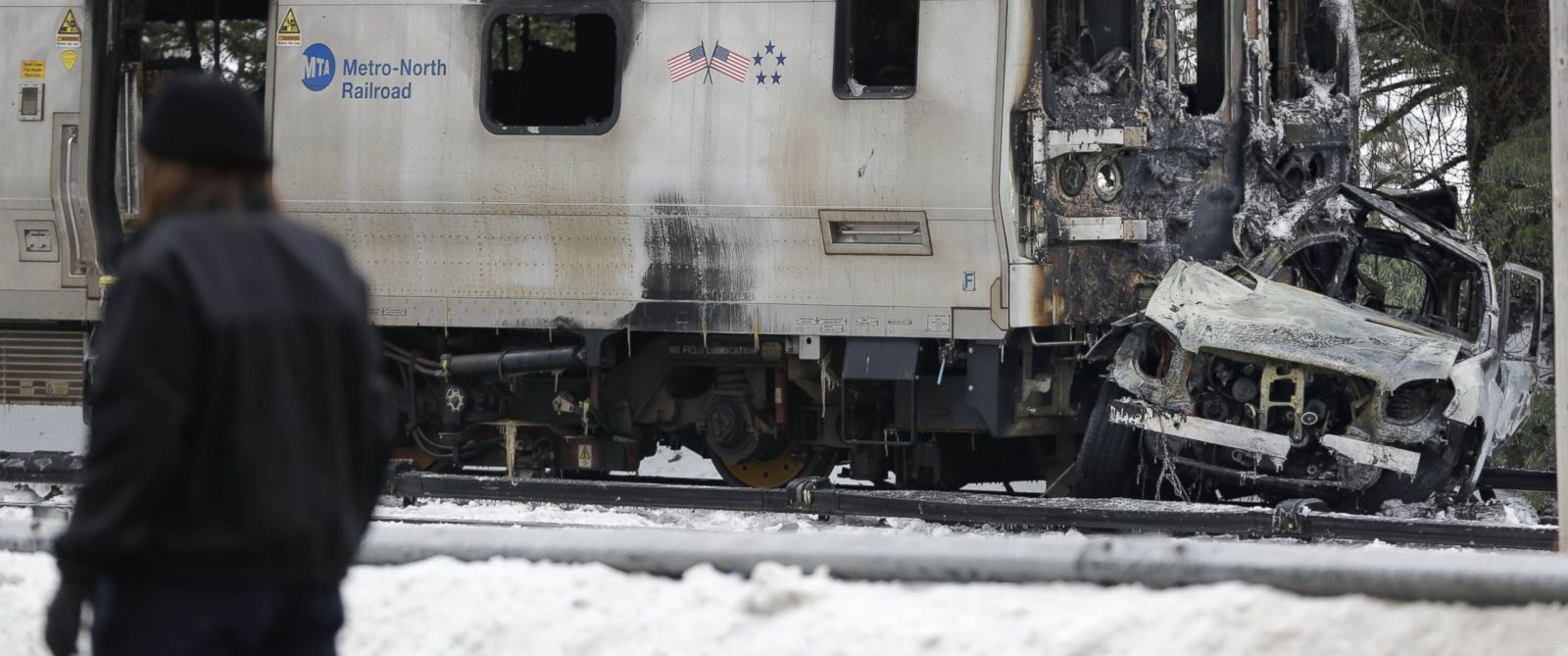PHOTO: Emergency personnel stand near the site of a collision between a Metro-North Railroad train and a SUV in Valhalla, N.Y., Feb. 4, 2015.