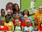 PHOTO: First lady Michelle Obama poses for a photo with patients at St. Jude Childrens Research Hospital, Sept. 17, 2014, in Memphis, Tenn.