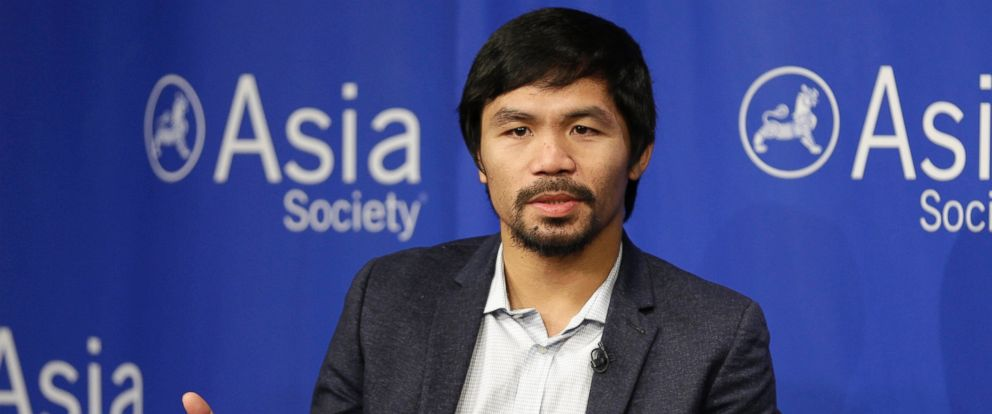 PHOTO: Manny Pacquiao takes questions at the Asia Society in New York in this Oct. 12, 2015 file photo.
