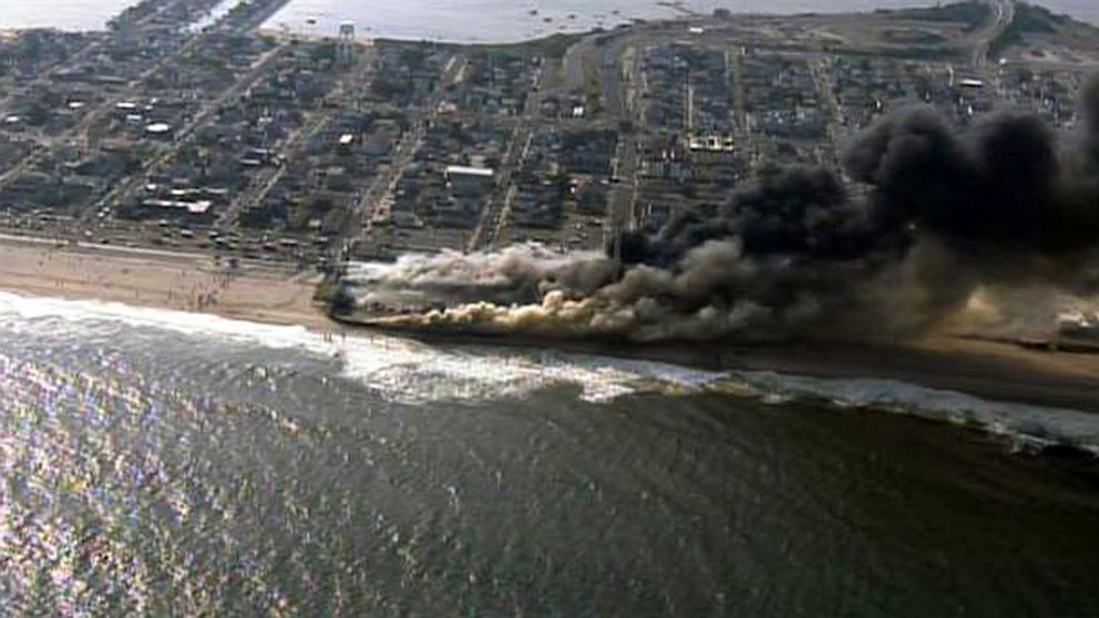 PHOTO: An aerial view of a raging fire in Seaside Park, N.J., Sept. 12, 2013.