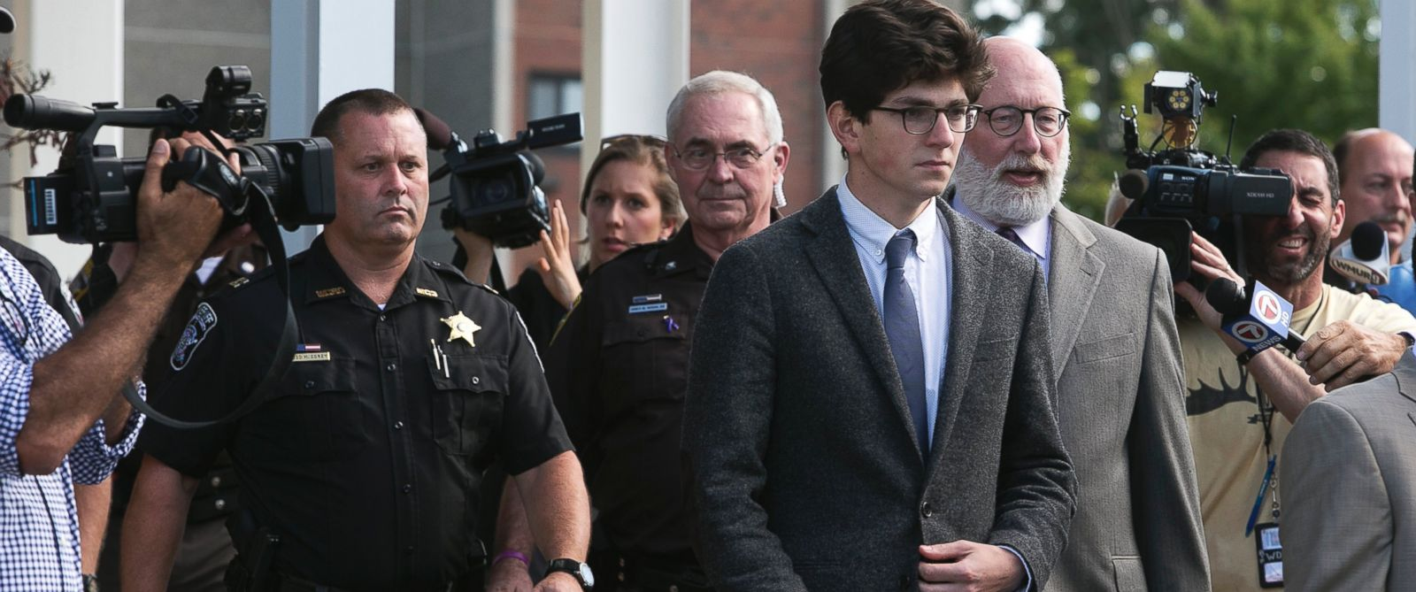 PHOTO:Owen Labrie leaves Merrimack Superior Court with his attorney Jay Carney in Concord, N.H., Aug. 28, 2015, in Concord, N.H.