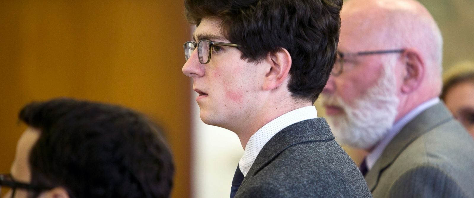 PHOTO:Owen Labrie looks over at the jury as his verdict is read at Merrimack County Superior Court, Aug. 28, 2015 in Concord, N.H.